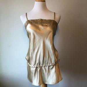 EUC-EXPRESS- Gold SlLK Strappy Tank Top-Size Small